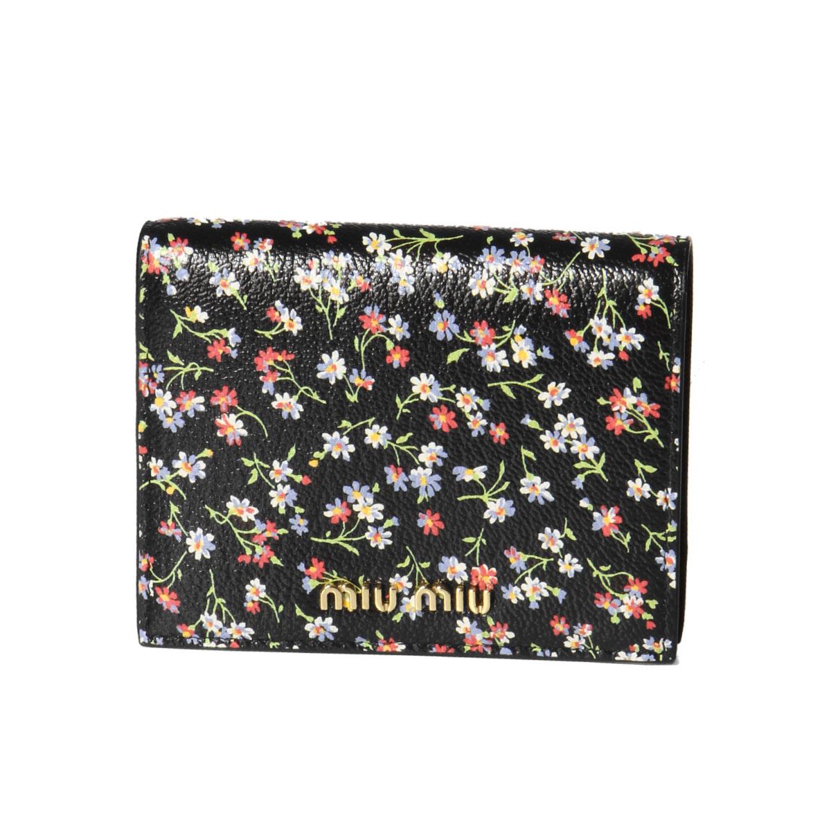 ミュウ ミュウ MIU MIU 財布 レディース 5MV204 2D52 F0002 二つ折り財布 MADRAS FLOWER NERO ブラック