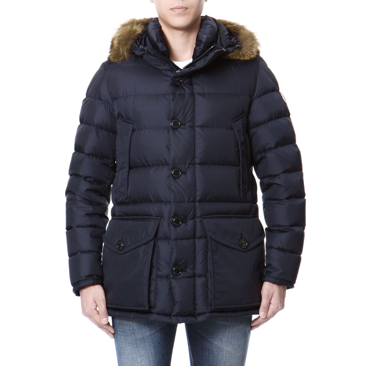 MONCLER MONCLER fur & Hooded down jacket NAVY dark blue CLUNY-Cluny
