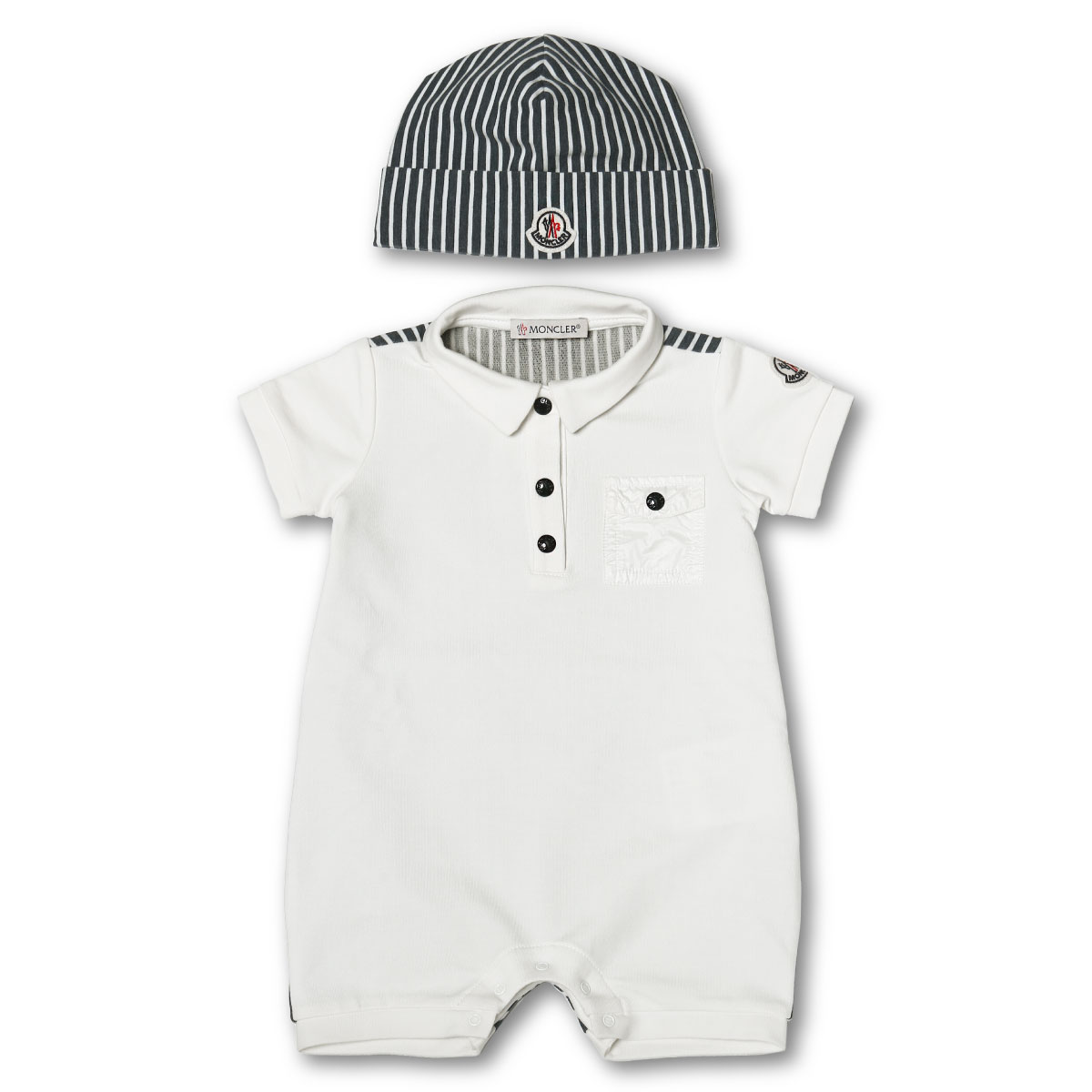 Short sleeves rompers with MONCLER Monk rail cap