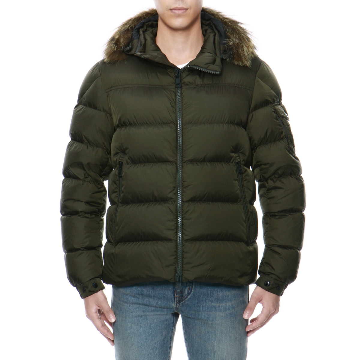 Down jacket MARQUE mark KHAKI green with Monk rail MONCLER outer men MARQUE  53227 256 fur   food 164d67d6b48
