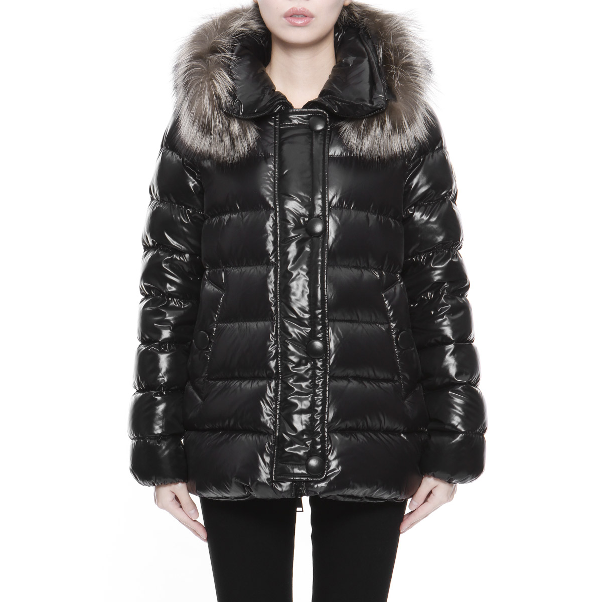 b8e830ef0 Monk rail MONCLER outer Lady's TARIER 68950 999 fur down jacket TARIER テルアー  BLACK black belonging to