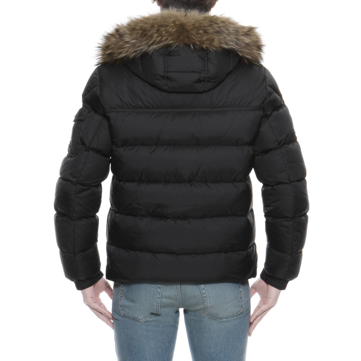 importshopdouble  Down jacket MARQUE mark BLACK black with Monk rail MONCLER  outer men MARQUE 53227 999 fur  amp  food   Rakuten Global Market 8169bdd53ca