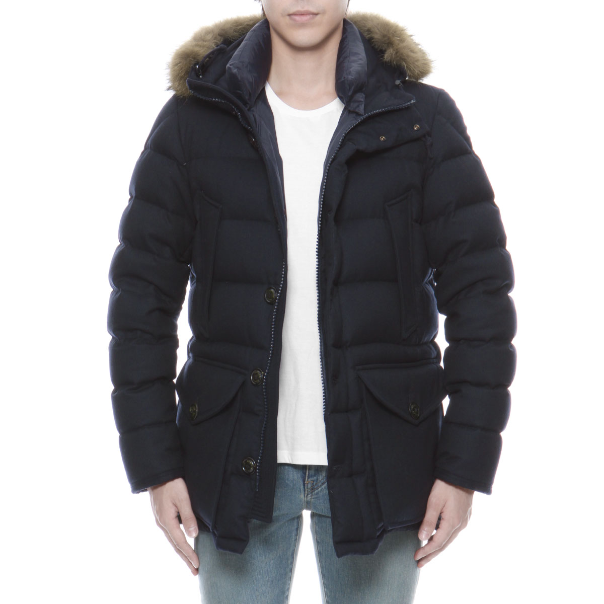 ea30d1fd4 Down jacket RETHE レセ NAVY dark blue with Monk rail MONCLER outer men RETHE  54272 780 fur & food