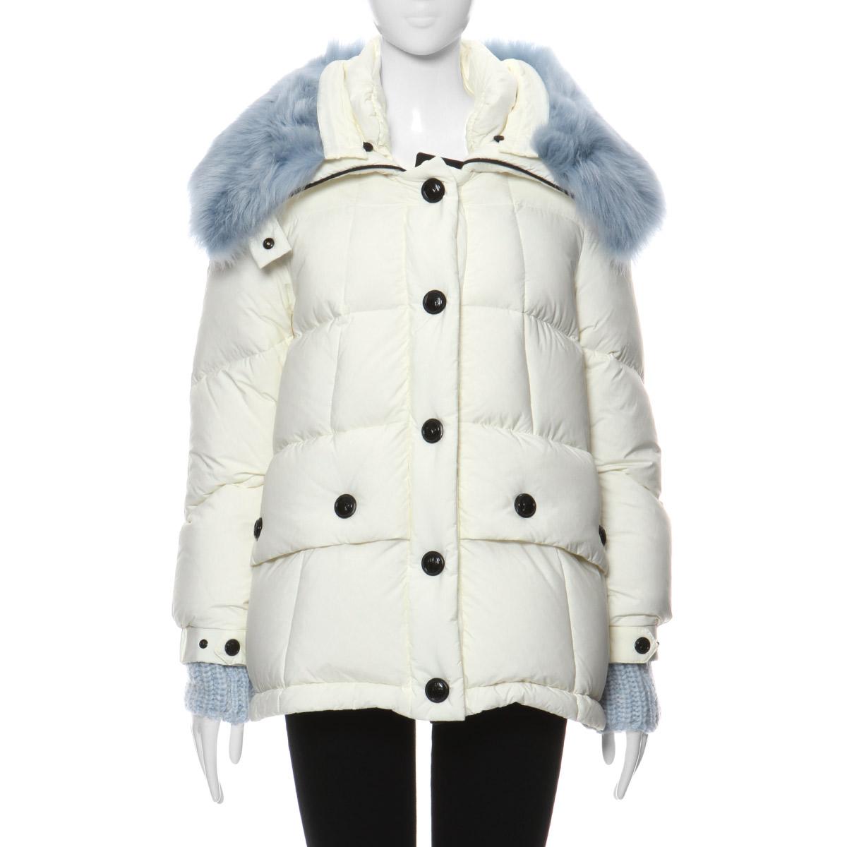 756b53593 Monk rail Grenoble MONCLER GRENOBLE outer Lady's CAREZZA 53862 04A fur down  jacket CAREZZA カレッツァ WHITE white belonging to