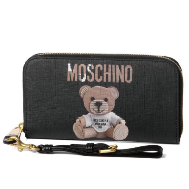 モスキーノ MOSCHINO 財布 レディース 8148 8210 1555 ラウンドファスナー長財布 BLACK ブラック