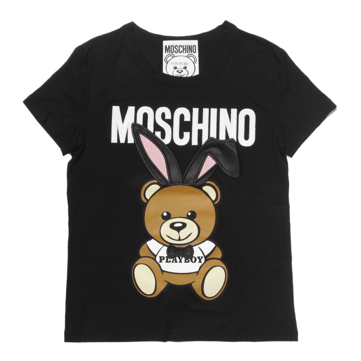 モスキーノ MOSCHINO Tシャツ レディース 0702 0544 1555 半袖Tシャツ BLACK ブラック