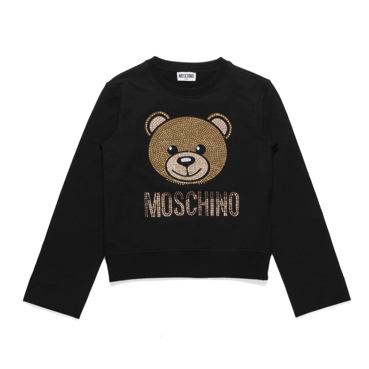 モスキーノ MOSCHINO スウェット キッズ ガールズ HDF025 LDA20 60100 長袖スウェット BLACK ブラック 10A-12A