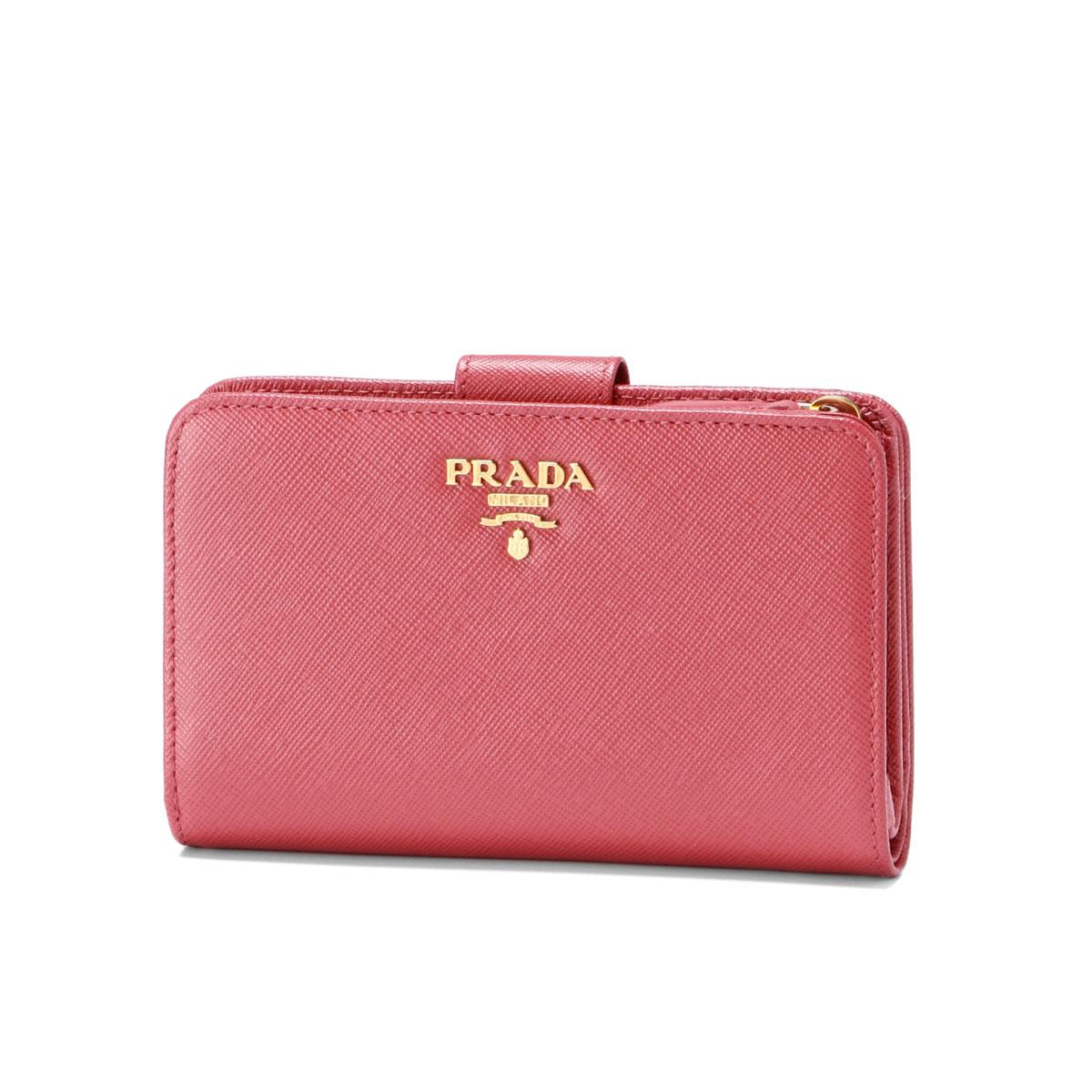 プラダ PRADA 財布 レディース 1ML225 QWA F0505 二つ折り財布 SAFFIANO METAL PEONIA ピンク