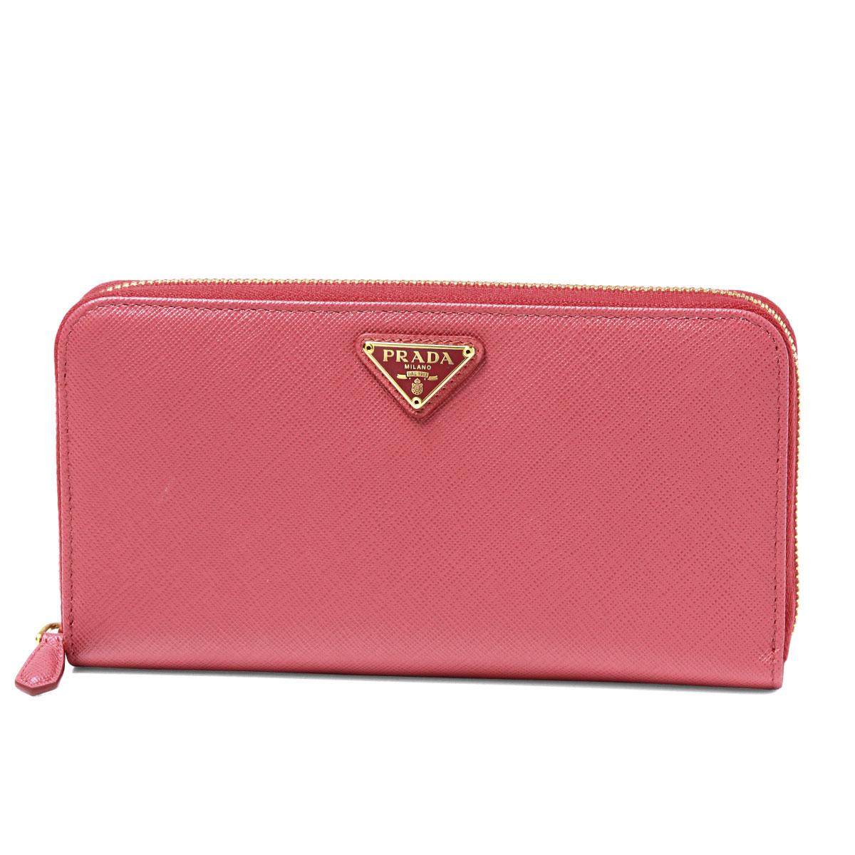 424682d3d72 importshopdouble  PRADA Prada round fastener long wallet PEONIA pink ...