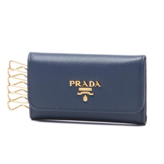 プラダ PRADA キーケース レディース 1PG222 QWA F0016 SAFFIANO METAL BLUETTE ダークブルー