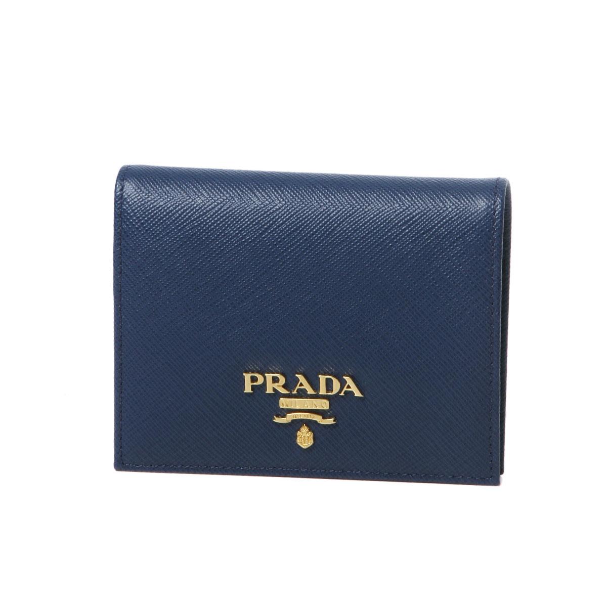 プラダ PRADA 財布 レディース 1MV204 QWA F0016 二つ折り財布 SAFFIANO METAL BLUETTE ダークブルー