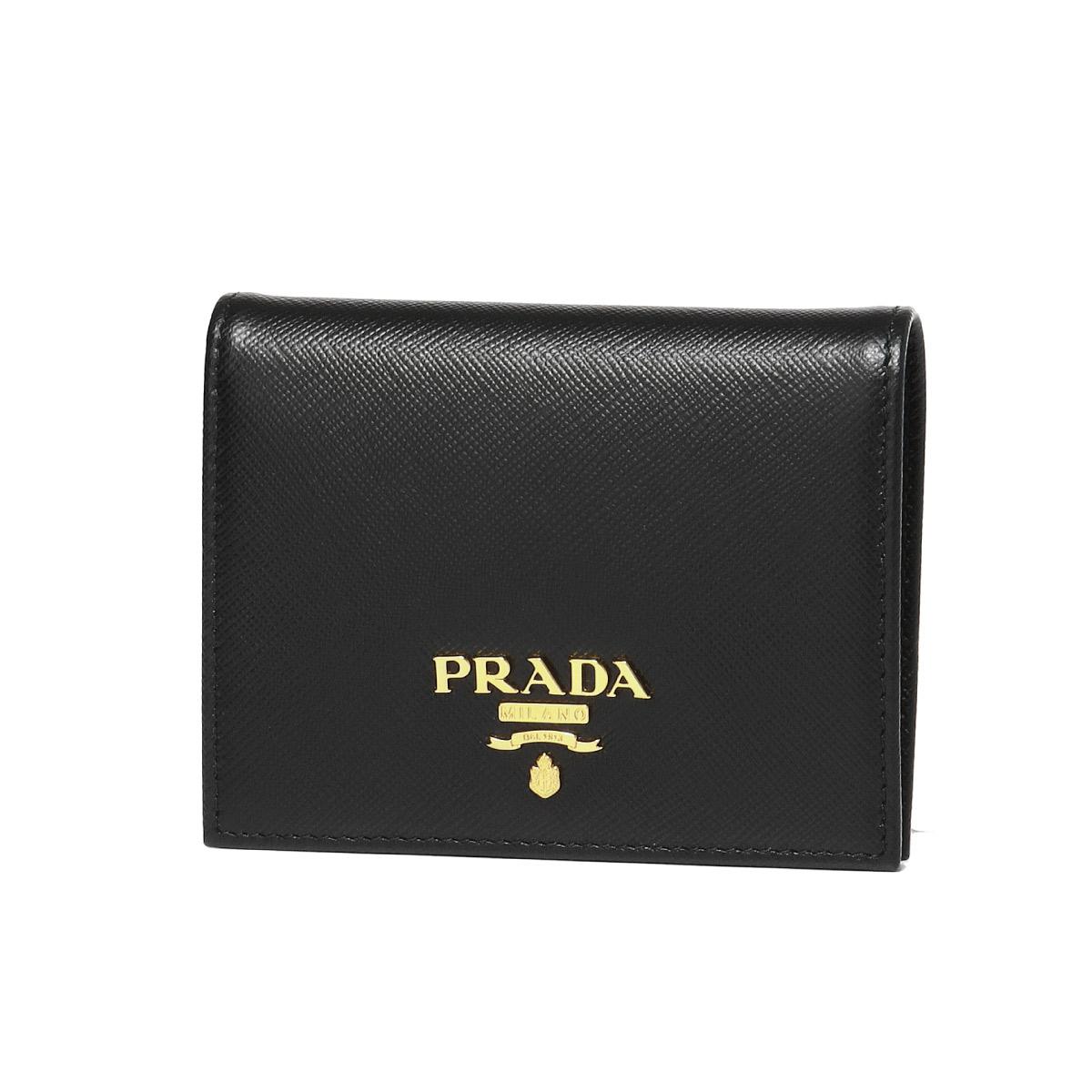 プラダ PRADA 財布 レディース 1MV204 QWA F0002 二つ折り財布 SAFFIANO METAL NERO ブラック