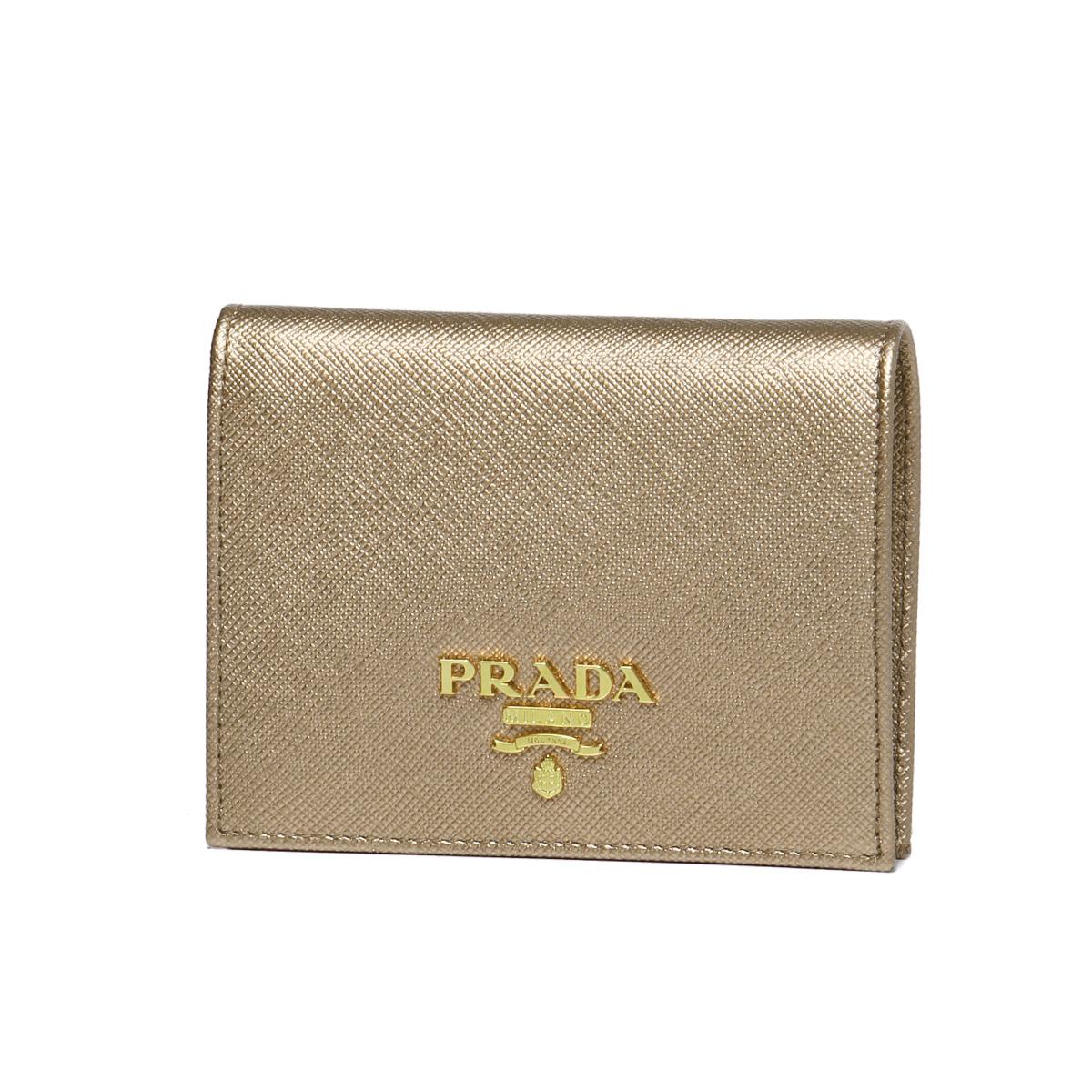 プラダ PRADA 財布 レディース 1MV204 QWA F0CGQ 二つ折り財布 SAFFIANO METAL QUARZO MORDORE ブラウン