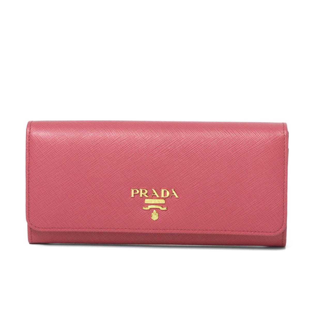 プラダ PRADA 財布 レディース 1MH132 QWA F0505 二つ折り長財布 SAFFIANO METAL PEONIA ピンク