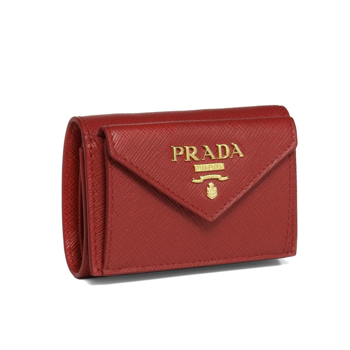 プラダ PRADA 財布 レディース 1MH021 QWA F068Z 三つ折り財布 SAFFIANO METAL FUOCO レッド