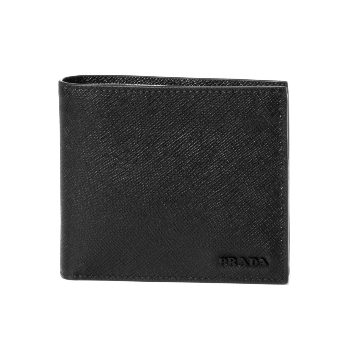 プラダ PRADA 財布 メンズ 2MO738 ZLP F0002 二つ折り財布 SAFFIANO MULTIC NERO ブラック