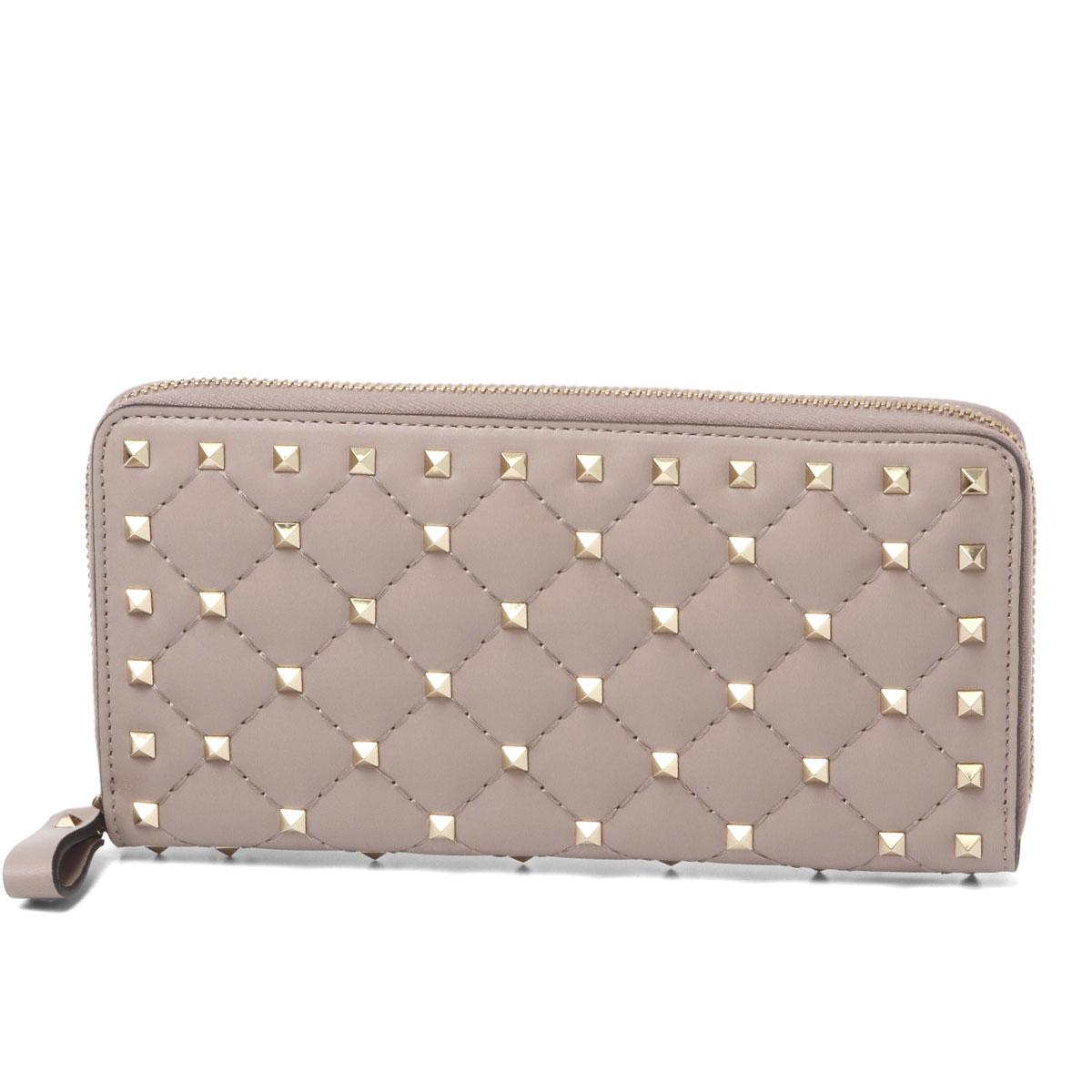 c0cc4ddc709c1 Valentino VALENTINO wallet Lady's PW2P0P00NAP P45 round fastener long  wallet ROCKSTUD SPIKE lock stud bolt spikes ...