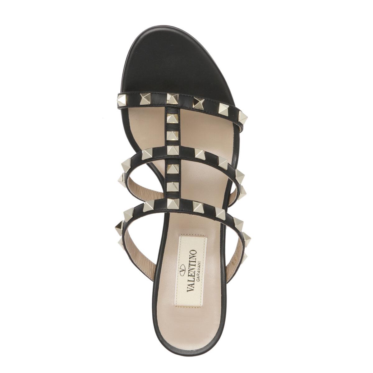 3f7a32d8ade ... Valentino VALENTINO shoes Lady's RW2S0C47 VOD 0NO sandals ROCKSTUD lock  stud bolt NERO/NER black ...