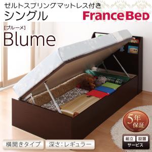 組立設置付 開閉・深さが選べるガス圧式跳ね上げ収納ベッド Blume ブルーメ ゼルトスプリングマットレス付き 横開き シングル 深さレギュラー
