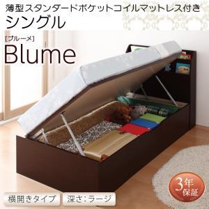 お客様組立 開閉・深さが選べるガス圧式跳ね上げ収納ベッド Blume ブルーメ 薄型スタンダードポケットコイルマットレス付き 横開き シングル 深さラージ