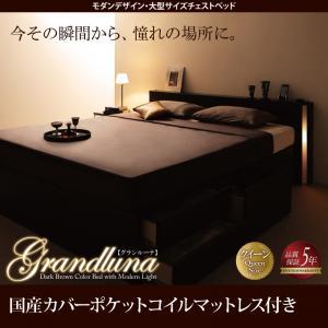 モダンデザイン・大型サイズチェストベッド Grandluna グランルーナ 国産カバーポケットコイルマットレス付き クイーン(Q×1)