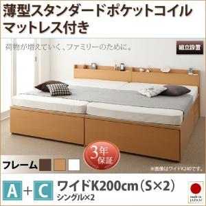 組立設置サービス付 日本製ベッド 国産ベッド 日本製  大容量収納ファミリーチェストベッド TRACT トラクト 薄型スタンダードポケットコイルマットレス付き A+C ワイドK200マットレス付 マットレス有