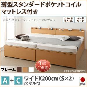 日本製ベッド 国産ベッド 日本製 鍵・ガード付き大容量収納ファミリーチェストベッド TRACT トラクト 薄型スタンダードポケットコイルマットレス付き A+C ワイドK200マットレス付 マットレス有 ファミリー 連結ベッド 家族ベッド 収納ベッド