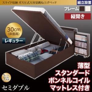 組立設置付 スライド収納_大容量ガス圧式跳ね上げベッド Many-IN メニーイン 薄型スタンダードボンネルコイルマットレス付き 縦開き セミダブル 深さレギュラー