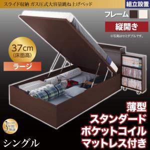 組立設置付 スライド収納_大容量ガス圧式跳ね上げベッド Many-IN メニーイン 薄型スタンダードポケットコイルマットレス付き 縦開き シングル 深さラージ