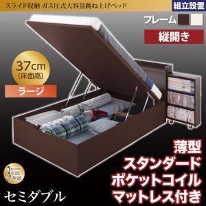 組立設置付 スライド収納_大容量ガス圧式跳ね上げベッド Many-IN メニーイン 薄型スタンダードポケットコイルマットレス付き 縦開き セミダブル 深さラージ