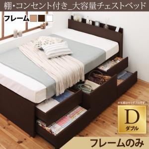 棚・コンセント付き_大容量チェストベッド VoLumen ボルメン ベッドフレームのみ ダブルマットレス無 マットレス別売り 大容量収納ベッド