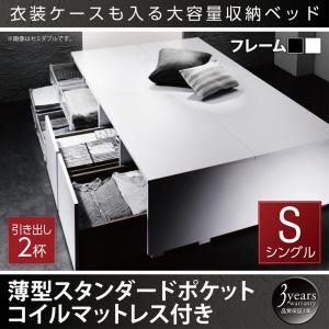 衣装ケースも入る大容量デザイン収納ベッド SCHNEE シュネー 薄型スタンダードポケットコイルマットレス付き 引出し2杯 シングル