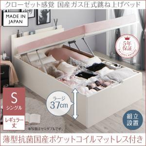 組立設置付 クローゼット跳ね上げベッド aimable エマーブル 薄型抗菌国産ポケットコイルマットレス付き 縦開き シングル レギュラー丈 深さラージ