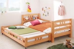 高さ変更可能 子供用ベッド 子供部屋用ベッド 棚付き親子2段ベッド Star&Moon スターアンドムーン シングルシングルベッド シングル シングルサイズ マットレス無し マットレス含まれず 低ホルムアルデヒド 添い寝 子供用ベッド
