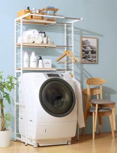 伸縮機能付き 洗濯機上のスペースが有効活用できる ナチュラルランドリーラック Mone モネ<br><br>