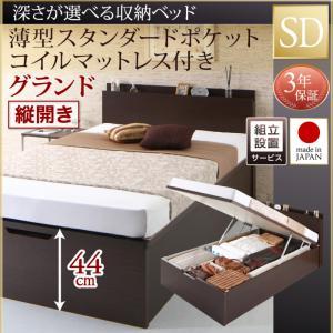 組立設置付 国産跳ね上げ収納ベッド Renati-DB レナーチ ダークブラウン 薄型スタンダードポケットコイルマットレス付き 縦開き セミダブル 深さグランド