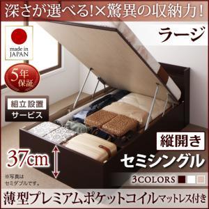 組立設置付 国産跳ね上げ収納ベッド Clory クローリー 薄型プレミアムポケットコイルマットレス付き 縦開き セミシングル 深さラージ日本製ベッド 国産ベッド 日本製 高級ベッド