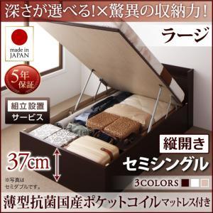 組立設置付 国産跳ね上げ収納ベッド Clory クローリー 薄型抗菌国産ポケットコイルマットレス付き 縦開き セミシングル 深さラージ日本製ベッド 国産ベッド 日本製 高級ベッド
