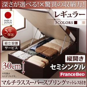 組立設置付 国産跳ね上げ収納ベッド Clory クローリー マルチラススーパースプリングマットレス付き 縦開き セミシングル 深さレギュラー日本製ベッド 国産ベッド 日本製 フランスベッドマットレス 国産マットレス 日本製マットレス