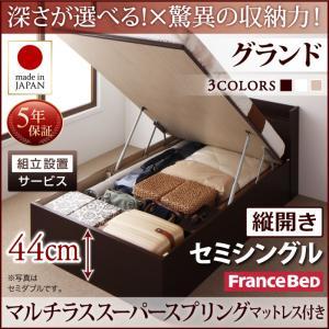 組立設置付 国産跳ね上げ収納ベッド Clory クローリー マルチラススーパースプリングマットレス付き 縦開き セミシングル 深さグランド日本製ベッド 国産ベッド 日本製 フランスベッドマットレス 国産マットレス 日本製マットレス