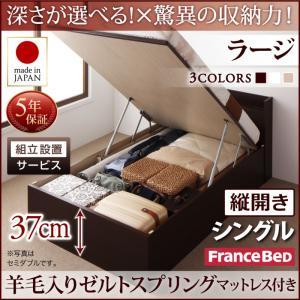 組立設置付 国産跳ね上げ収納ベッド Clory クローリー 羊毛入りゼルトスプリングマットレス付き 縦開き シングル 深さラージ日本製ベッド 国産ベッド 日本製 フランスベッドマットレス 国産マットレス 日本製マットレス