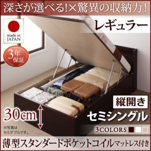 お客様組立 国産跳ね上げ収納ベッド Clory クローリー 薄型スタンダードポケットコイルマットレス付き 縦開き セミシングル 深さレギュラー日本製ベッド 国産ベッド 日本製 高級ベッド