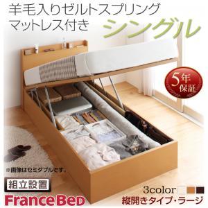 組立設置付 国産跳ね上げ収納ベッド Freeda フリーダ 羊毛入りゼルトスプリングマットレス付き 縦開き シングル 深さラージ日本製ベッド 国産ベッド 日本製 フランスベッドマットレス 国産マットレス 日本製マットレス