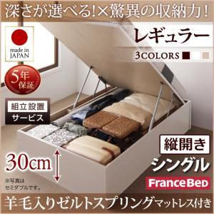 組立設置付 国産跳ね上げ収納ベッド Regless リグレス 羊毛入りゼルトスプリングマットレス付き 縦開き シングル 深さレギュラー日本製ベッド 国産ベッド 日本製 フランスベッドマットレス 国産マットレス 日本製マットレス