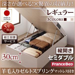 組立設置付 国産跳ね上げ収納ベッド Regless リグレス 羊毛入りゼルトスプリングマットレス付き 縦開き セミダブル 深さレギュラー日本製ベッド 国産ベッド 日本製 フランスベッドマットレス 国産マットレス 日本製マットレス