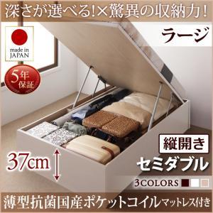 お客様組立 国産跳ね上げ収納ベッド Regless リグレス 薄型抗菌国産ポケットコイルマットレス付き 縦開き セミダブル 深さラージ日本製ベッド 国産ベッド 日本製 マットレス 日本製マットレス 国産マットレス