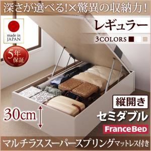 お客様組立 国産跳ね上げ収納ベッド Regless リグレス マルチラススーパースプリングマットレス付き 縦開き セミダブル 深さレギュラー日本製ベッド 国産ベッド 日本製 フランスベッドマットレス 国産マットレス 日本製マットレス