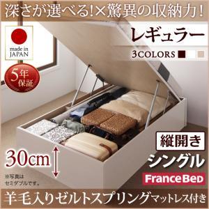 お客様組立 国産跳ね上げ収納ベッド Regless リグレス 羊毛入りゼルトスプリングマットレス付き 縦開き シングル 深さレギュラー日本製ベッド 国産ベッド 日本製 フランスベッドマットレス 国産マットレス 日本製マットレス