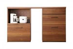 日本製完成品 天然木調ワイドキッチンカウンター Walkit ウォルキット レンジ台+引き出し 150cm日本製 日本製収納家具 キッチン収納 国産