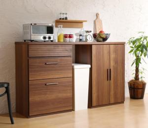 日本製完成品 天然木調ワイドキッチンカウンター Walkit ウォルキット 引き出し+食器棚 150cm日本製 日本製収納家具 キッチン収納 国産